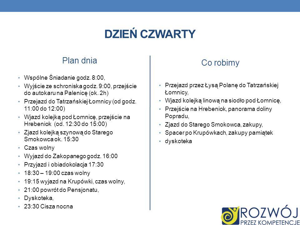 DZIEŃ CZWARTY Plan dnia Wspólne Śniadanie godz. 8:00, Wyjście ze schroniska godz. 9:00, przejście do autokaru na Palenicę (ok. 2h) Przejazd do Tatrzań
