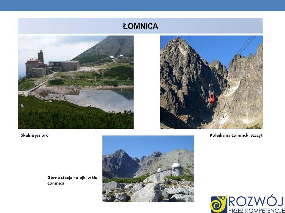 ŁOMNICA Skalne jezioroKolejka na Łomnicki Szczyt Górna stacja kolejki w tle Łomnica