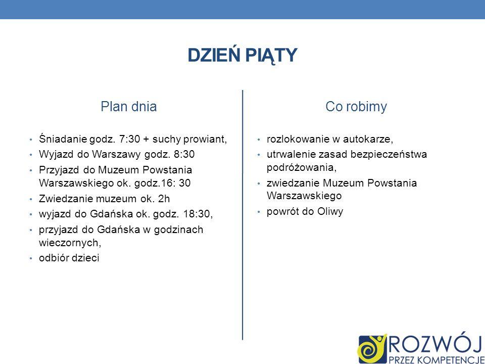 DZIEŃ PIĄTY Plan dnia Śniadanie godz. 7:30 + suchy prowiant, Wyjazd do Warszawy godz. 8:30 Przyjazd do Muzeum Powstania Warszawskiego ok. godz.16: 30