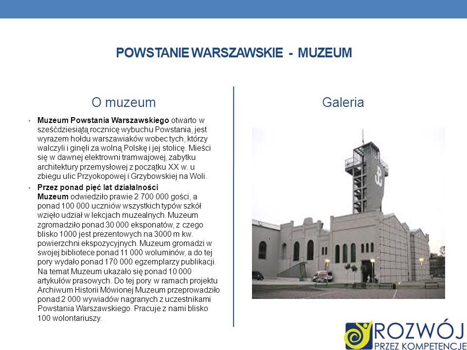 POWSTANIE WARSZAWSKIE - MUZEUM O muzeum Muzeum Powstania Warszawskiego otwarto w sześćdziesiątą rocznicę wybuchu Powstania, jest wyrazem hołdu warszaw