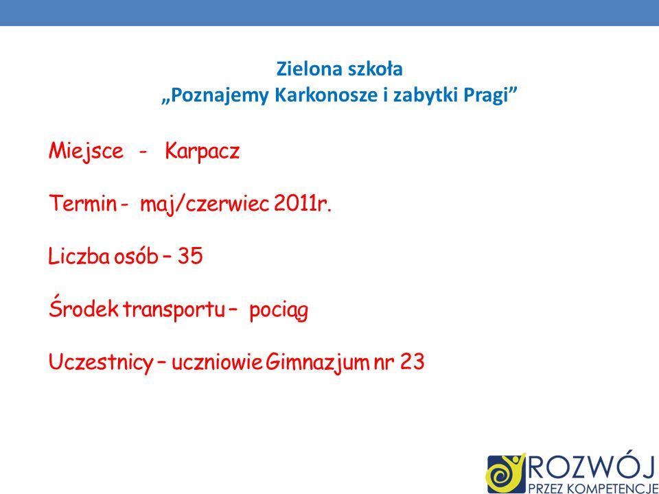 Zielona szkoła Poznajemy Karkonosze i zabytki Pragi Miejsce - Karpacz Termin - maj/czerwiec 2011r. Liczba osób – 35 Środek transportu – pociąg Uczestn