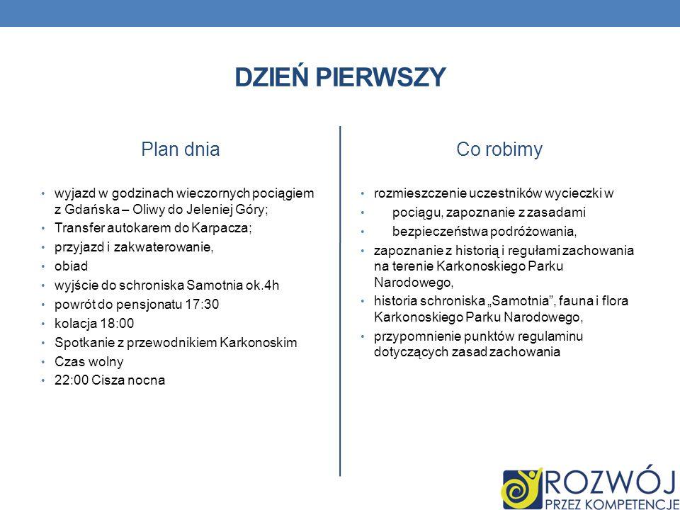 DZIEŃ PIERWSZY Plan dnia wyjazd w godzinach wieczornych pociągiem z Gdańska – Oliwy do Jeleniej Góry; Transfer autokarem do Karpacza; przyjazd i zakwa