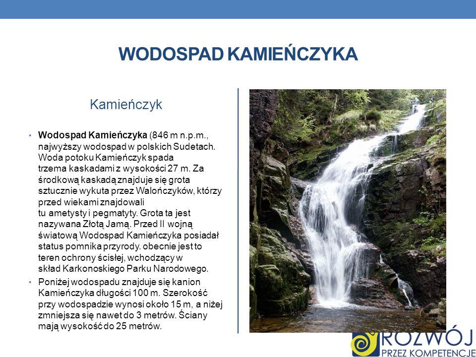 WODOSPAD KAMIEŃCZYKA Kamieńczyk Wodospad Kamieńczyka (846 m n.p.m., najwyższy wodospad w polskich Sudetach. Woda potoku Kamieńczyk spada trzema kaskad