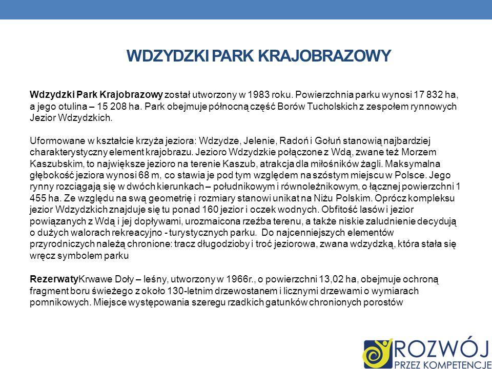 WDZYDZKI PARK KRAJOBRAZOWY Wdzydzki Park Krajobrazowy został utworzony w 1983 roku. Powierzchnia parku wynosi 17 832 ha, a jego otulina – 15 208 ha. P