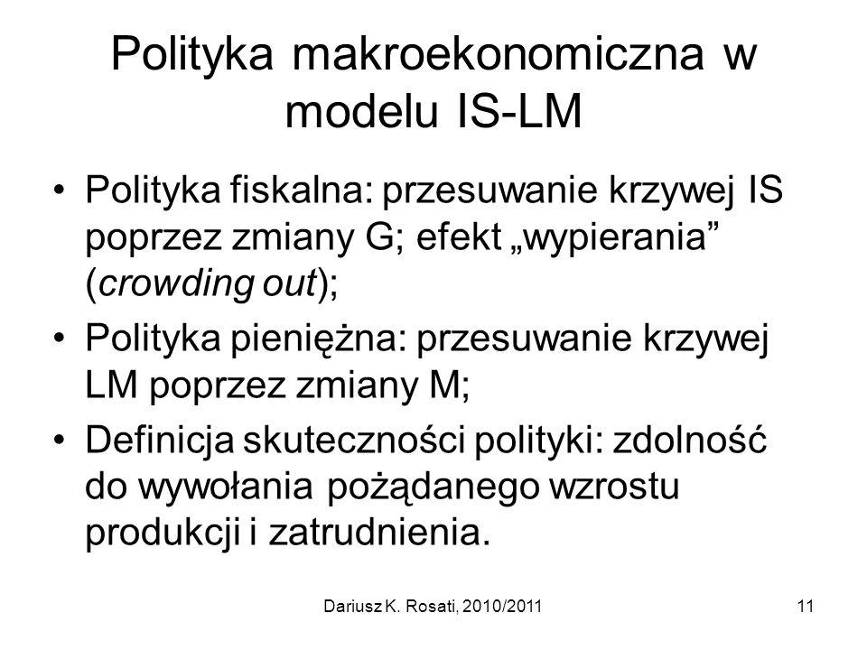 Polityka makroekonomiczna w modelu IS-LM Polityka fiskalna: przesuwanie krzywej IS poprzez zmiany G; efekt wypierania (crowding out); Polityka pienięż