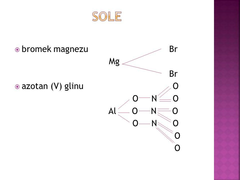 bromek magnezu Br Mg Br azotan (V) glinu O O N O Al O N O O N O O