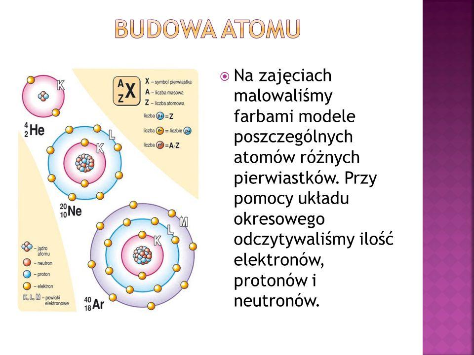 Na zajęciach malowaliśmy farbami modele poszczególnych atomów różnych pierwiastków.
