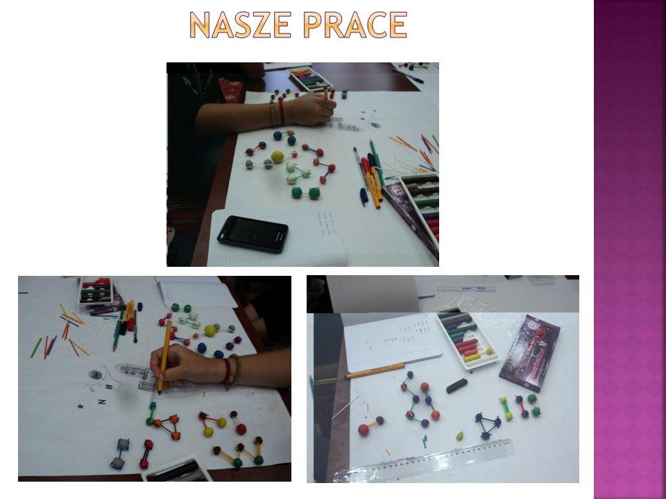 Wykonaliśmy modele poszczególnych związków chemicznych z plasteliny i patyczków, oznaczaliśmy wiązania i wolne pary elektronowe.