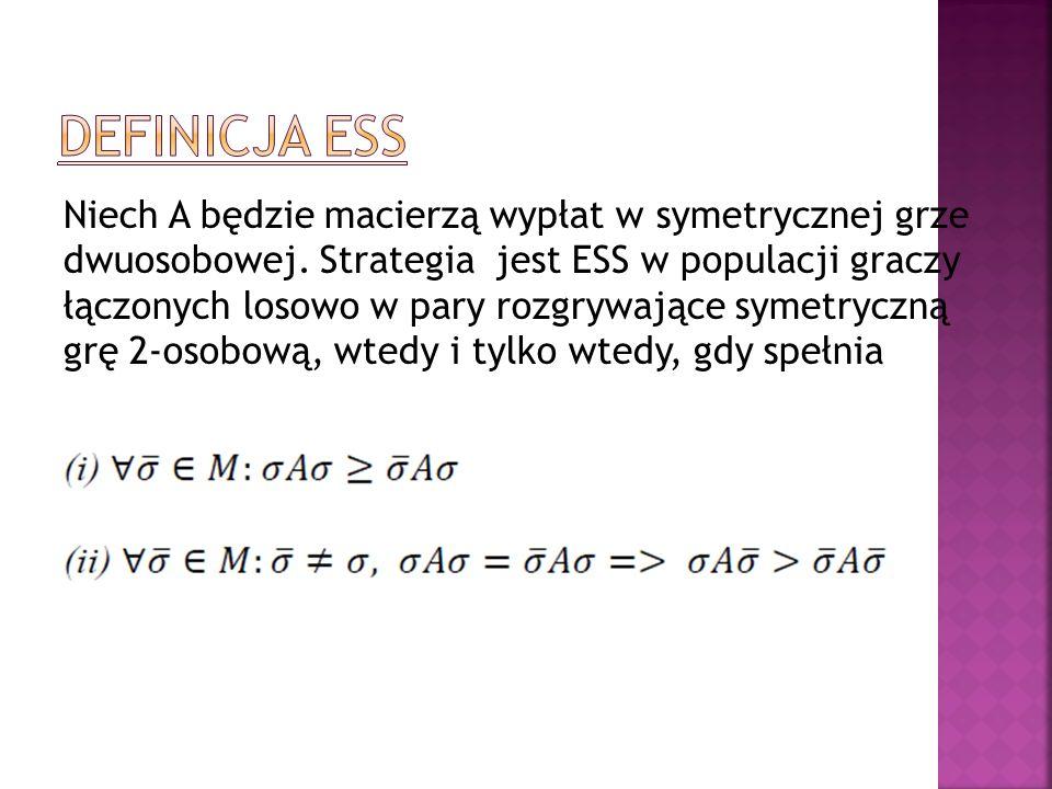 Niech A będzie macierzą wypłat w symetrycznej grze dwuosobowej. Strategia jest ESS w populacji graczy łączonych losowo w pary rozgrywające symetryczną