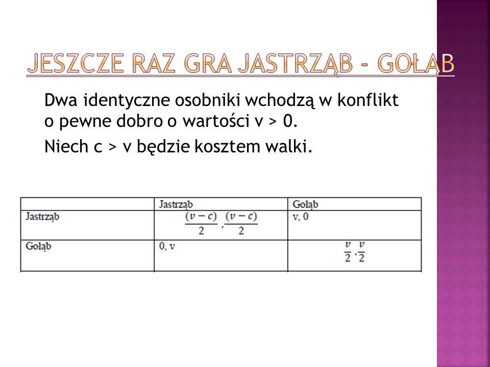 Dwa identyczne osobniki wchodzą w konflikt o pewne dobro o wartości v > 0. Niech c > v będzie kosztem walki.