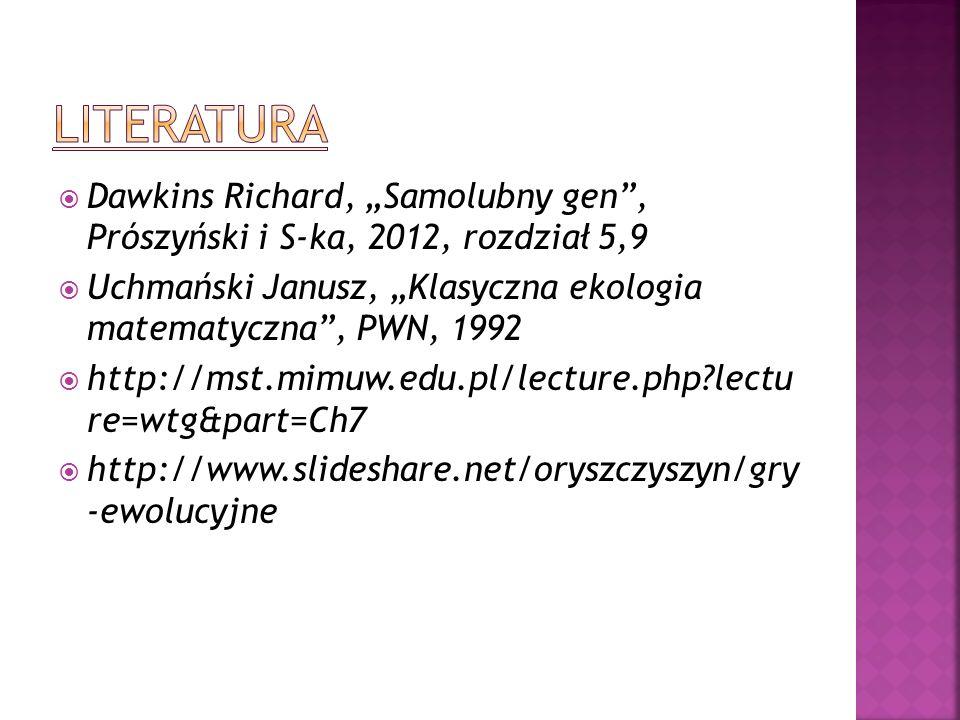 Dawkins Richard, Samolubny gen, Prószyński i S-ka, 2012, rozdział 5,9 Uchmański Janusz, Klasyczna ekologia matematyczna, PWN, 1992 http://mst.mimuw.ed