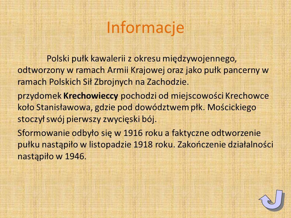 Informacje Polski pułk kawalerii z okresu międzywojennego, odtworzony w ramach Armii Krajowej oraz jako pułk pancerny w ramach Polskich Sił Zbrojnych
