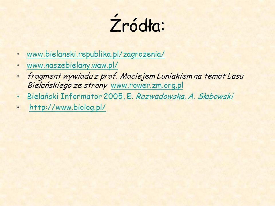 Źródła: www.bielanski.republika.pl/zagrozenia/ www.naszebielany.waw.pl/ fragment wywiadu z prof. Maciejem Luniakiem na temat Lasu Bielańskiego ze stro