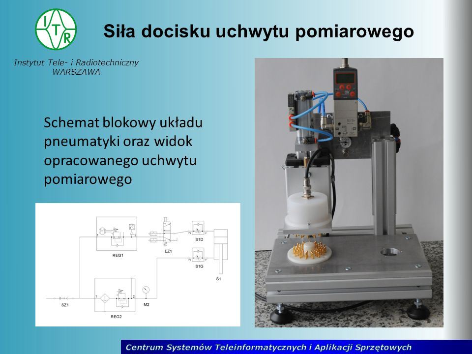 Instytut Tele- i Radiotechniczny WARSZAWA Siła docisku uchwytu pomiarowego Schemat blokowy układu pneumatyki oraz widok opracowanego uchwytu pomiarowe