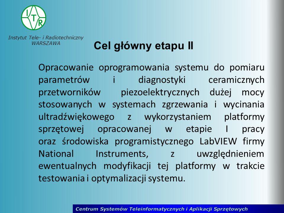 Instytut Tele- i Radiotechniczny WARSZAWA Cel główny etapu II Opracowanie oprogramowania systemu do pomiaru parametrów i diagnostyki ceramicznych prze