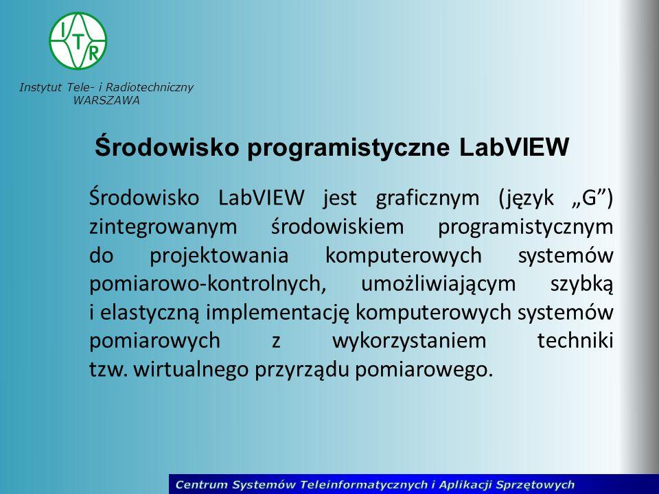 Instytut Tele- i Radiotechniczny WARSZAWA Środowisko LabVIEW jest graficznym (język G) zintegrowanym środowiskiem programistycznym do projektowania ko