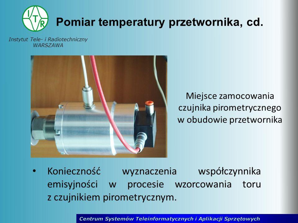 Instytut Tele- i Radiotechniczny WARSZAWA Pomiar temperatury przetwornika, cd. Miejsce zamocowania czujnika pirometrycznego w obudowie przetwornika Ko
