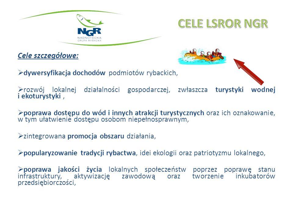 Cele szczegółowe: dywersyfikacja dochodów podmiotów rybackich, rozwój lokalnej działalności gospodarczej, zwłaszcza turystyki wodnej i ekoturystyki, poprawa dostępu do wód i innych atrakcji turystycznych oraz ich oznakowanie, w tym ułatwienie dostępu osobom niepełnosprawnym, zintegrowana promocja obszaru działania, popularyzowanie tradycji rybactwa, idei ekologii oraz patriotyzmu lokalnego, poprawa jakości życia lokalnych społeczeństw poprzez poprawę stanu infrastruktury, aktywizację zawodową oraz tworzenie inkubatorów przedsiębiorczości,