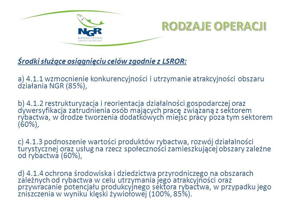 Środki służące osiągnięciu celów zgodnie z LSROR: a) 4.1.1 wzmocnienie konkurencyjności i utrzymanie atrakcyjności obszaru działania NGR (85%), b) 4.1.2 restrukturyzacja i reorientacja działalności gospodarczej oraz dywersyfikacja zatrudnienia osób mających pracę związaną z sektorem rybactwa, w drodze tworzenia dodatkowych miejsc pracy poza tym sektorem (60%), c) 4.1.3 podnoszenie wartości produktów rybactwa, rozwój działalności turystycznej oraz usług na rzecz społeczności zamieszkującej obszary zależne od rybactwa (60%), d) 4.1.4 ochrona środowiska i dziedzictwa przyrodniczego na obszarach zależnych od rybactwa w celu utrzymania jego atrakcyjności oraz przywracanie potencjału produkcyjnego sektora rybactwa, w przypadku jego zniszczenia w wyniku klęski żywiołowej (100%, 85%).