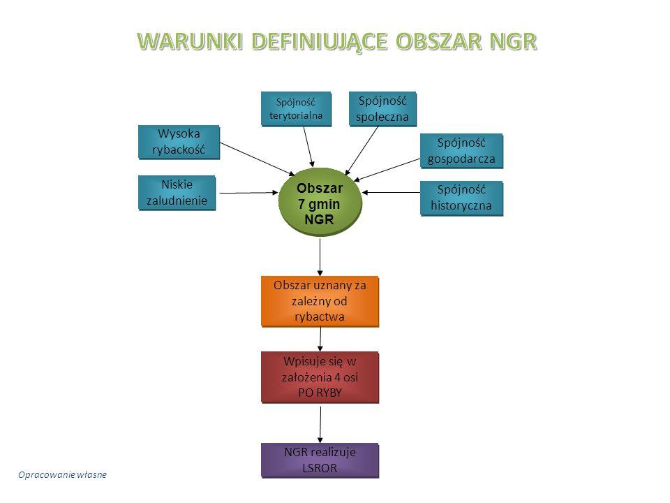 Obszar 7 gmin NGR Spójność historyczna Spójność gospodarcza Wysoka rybackość Niskie zaludnienie Obszar uznany za zależny od rybactwa Wpisuje się w założenia 4 osi PO RYBY Spójność terytorialna NGR realizuje LSROR Spójność społeczna Opracowanie własne