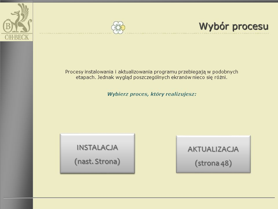 Wybór procesu Procesy instalowania i aktualizowania programu przebiegają w podobnych etapach.