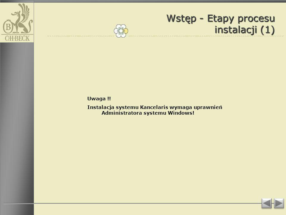 Wstęp - Etapy procesu instalacji (1) Uwaga !.