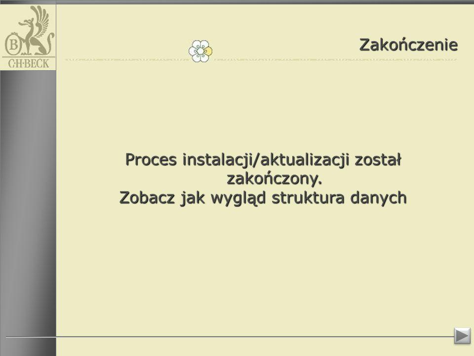 Zakończenie Proces instalacji/aktualizacji został zakończony. Zobacz jak wygląd struktura danych