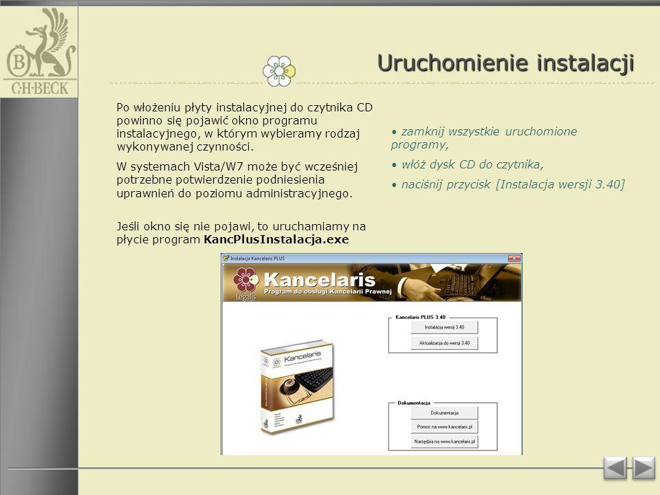 Uruchomienie instalacji Po włożeniu płyty instalacyjnej do czytnika CD powinno się pojawić okno programu instalacyjnego, w którym wybieramy rodzaj wykonywanej czynności.