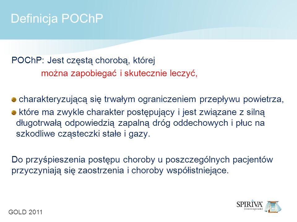 Definicja POChP POChP: Jest częstą chorobą, której można zapobiegać i skutecznie leczyć, charakteryzującą się trwałym ograniczeniem przepływu powietrza, które ma zwykle charakter postępujący i jest związane z silną długotrwałą odpowiedzią zapalną dróg oddechowych i płuc na szkodliwe cząsteczki stałe i gazy.