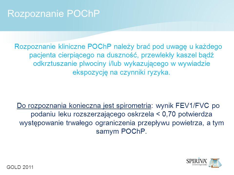 Rozpoznanie kliniczne POChP należy brać pod uwagę u każdego pacjenta cierpiącego na duszność, przewlekły kaszel bądź odkrztuszanie plwociny i/lub wykazującego w wywiadzie ekspozycję na czynniki ryzyka.
