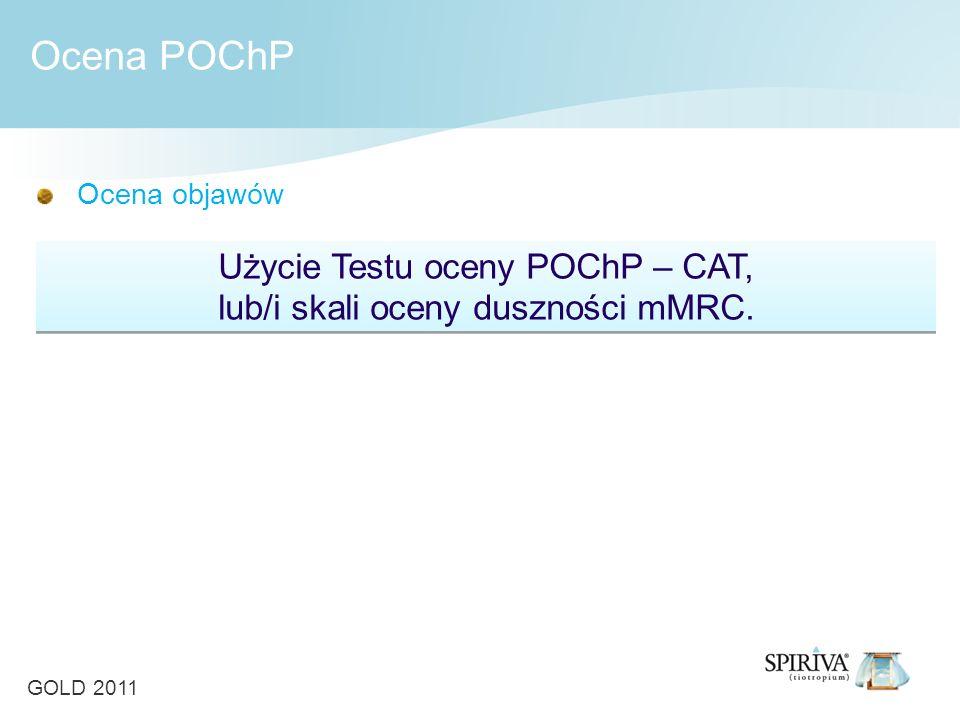 Ocena objawów Użycie Testu oceny POChP – CAT, lub/i skali oceny duszności mMRC. Ocena POChP GOLD 2011