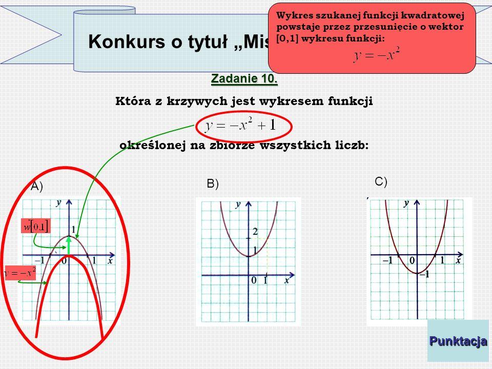 Konkurs o tytuł Mistrza Funkcji Zadanie 10. Która z krzywych jest wykresem funkcji określonej na zbiorze wszystkich liczb: A) C) B) Wykres szukanej fu