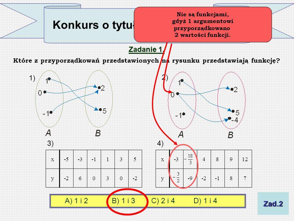 Zadanie 1. Które z przyporządkowań przedstawionych na rysunku przedstawiają funkcję? 1) 2) 78-2-9y-20306 y 12984-3x531-3-5x 3) 4) A) 1 i 2B) 1 i 3 C)