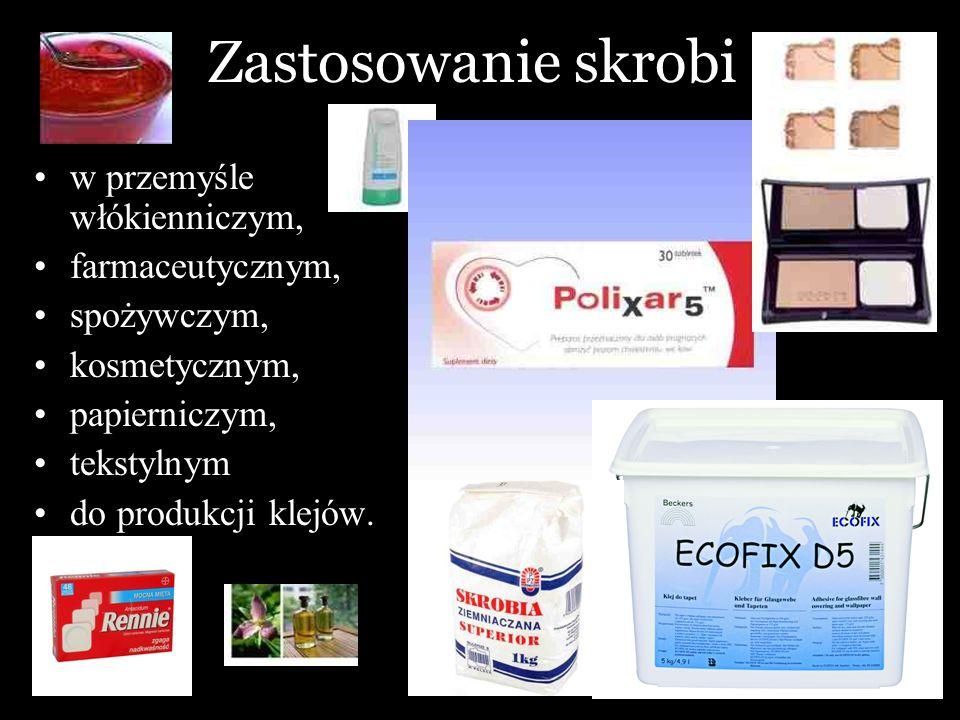 Zastosowanie skrobi w przemyśle włókienniczym, farmaceutycznym, spożywczym, kosmetycznym, papierniczym, tekstylnym do produkcji klejów.