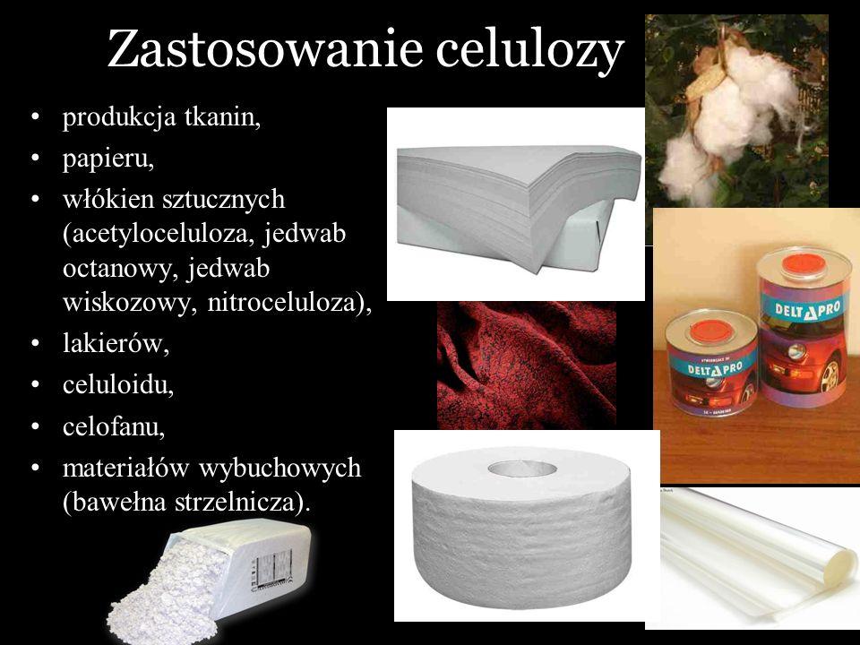 Zastosowanie celulozy produkcja tkanin, papieru, włókien sztucznych (acetyloceluloza, jedwab octanowy, jedwab wiskozowy, nitroceluloza), lakierów, cel