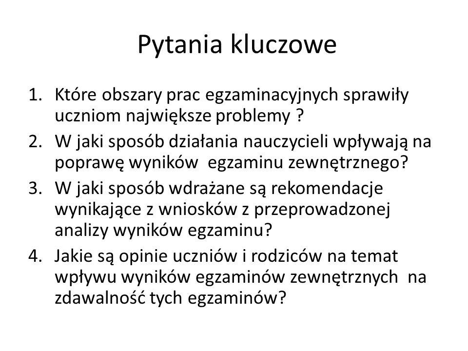 Pytania kluczowe 1.Które obszary prac egzaminacyjnych sprawiły uczniom największe problemy .