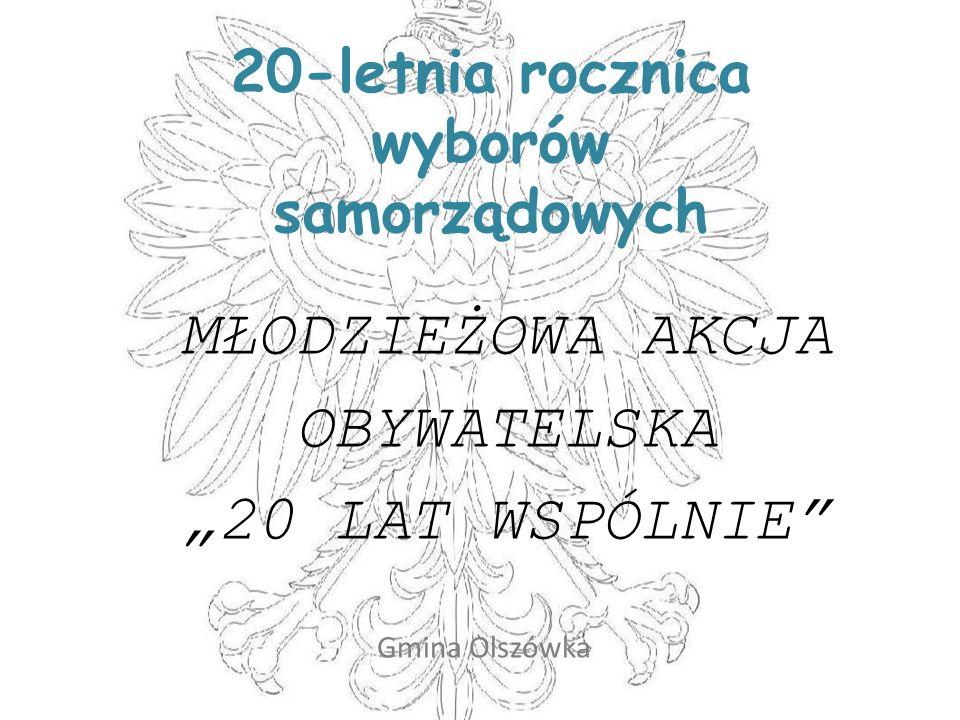 20-letnia rocznica wyborów samorządowych MŁODZIEŻOWA AKCJA OBYWATELSKA 20 LAT WSPÓLNIE Gmina Olszówka