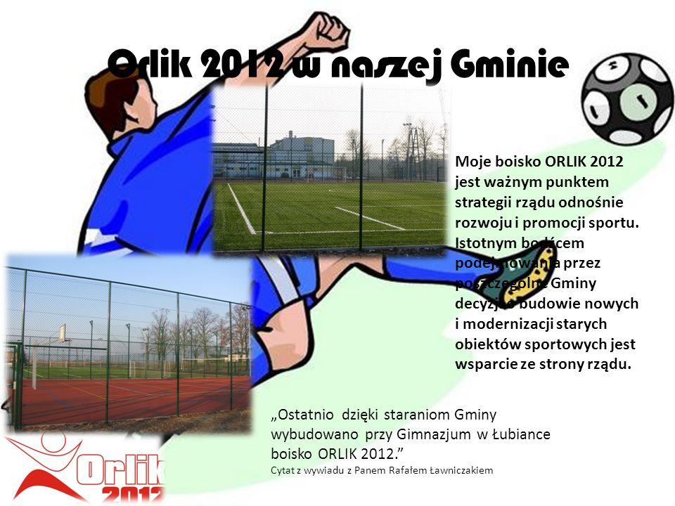 Orlik 2012 w naszej Gminie Ostatnio dzięki staraniom Gminy wybudowano przy Gimnazjum w Łubiance boisko ORLIK 2012.
