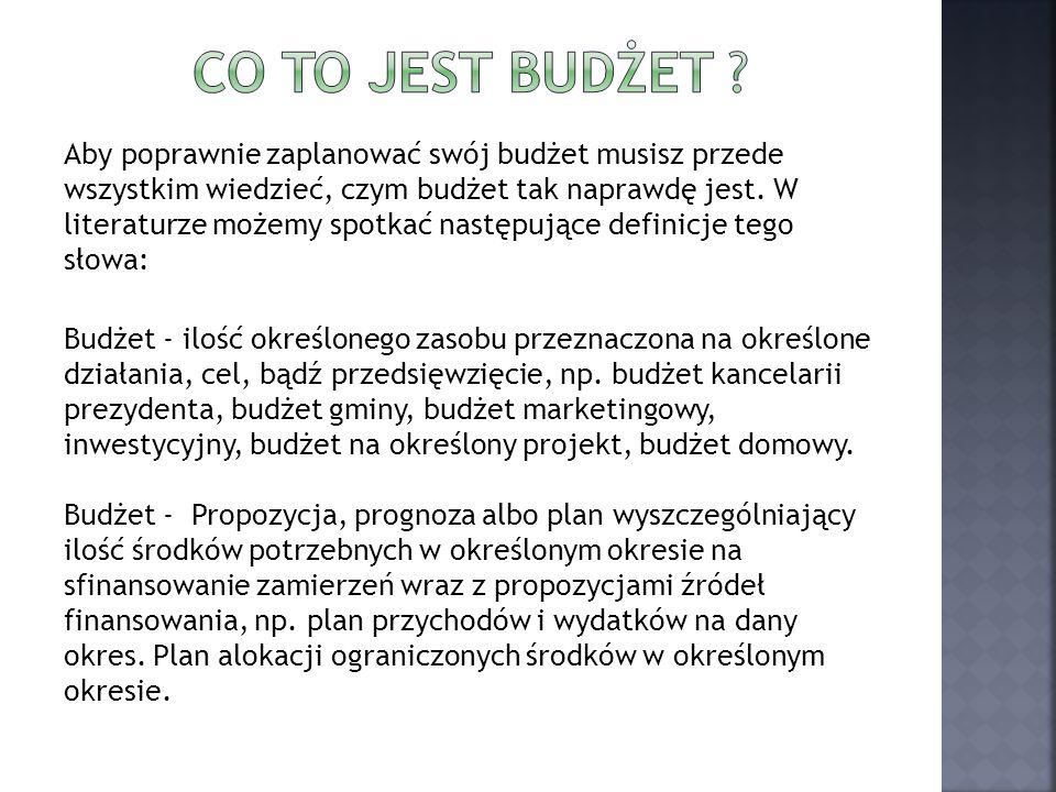 Aby poprawnie zaplanować swój budżet musisz przede wszystkim wiedzieć, czym budżet tak naprawdę jest. W literaturze możemy spotkać następujące definic