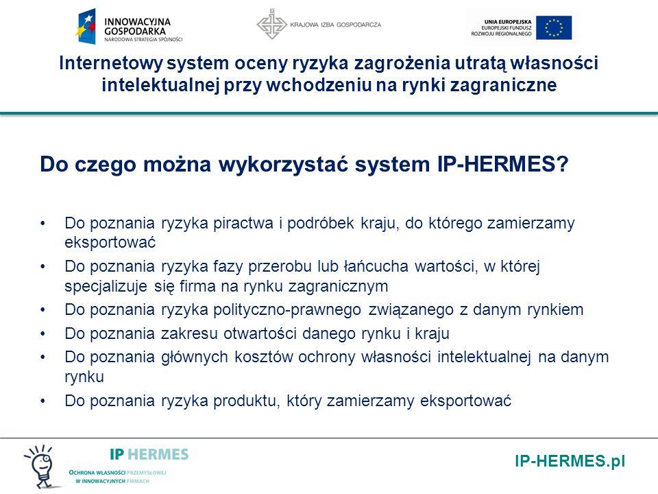 IP-HERMES.pl Internetowy system oceny ryzyka zagrożenia utratą własności intelektualnej przy wchodzeniu na rynki zagraniczne Do czego można wykorzystać system IP-HERMES.