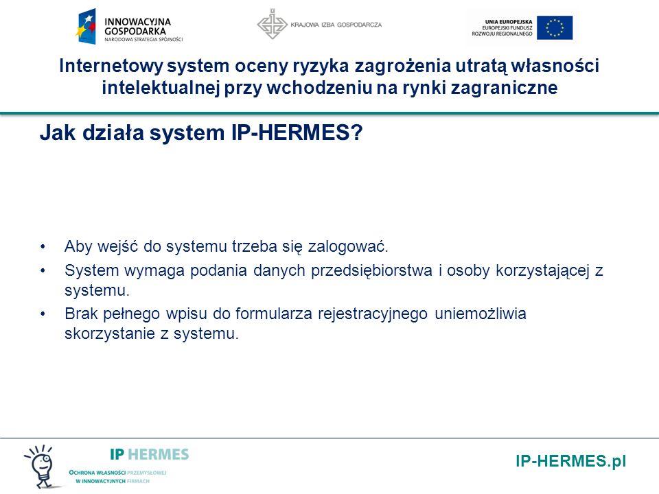 IP-HERMES.pl Internetowy system oceny ryzyka zagrożenia utratą własności intelektualnej przy wchodzeniu na rynki zagraniczne Jak działa system IP-HERMES.