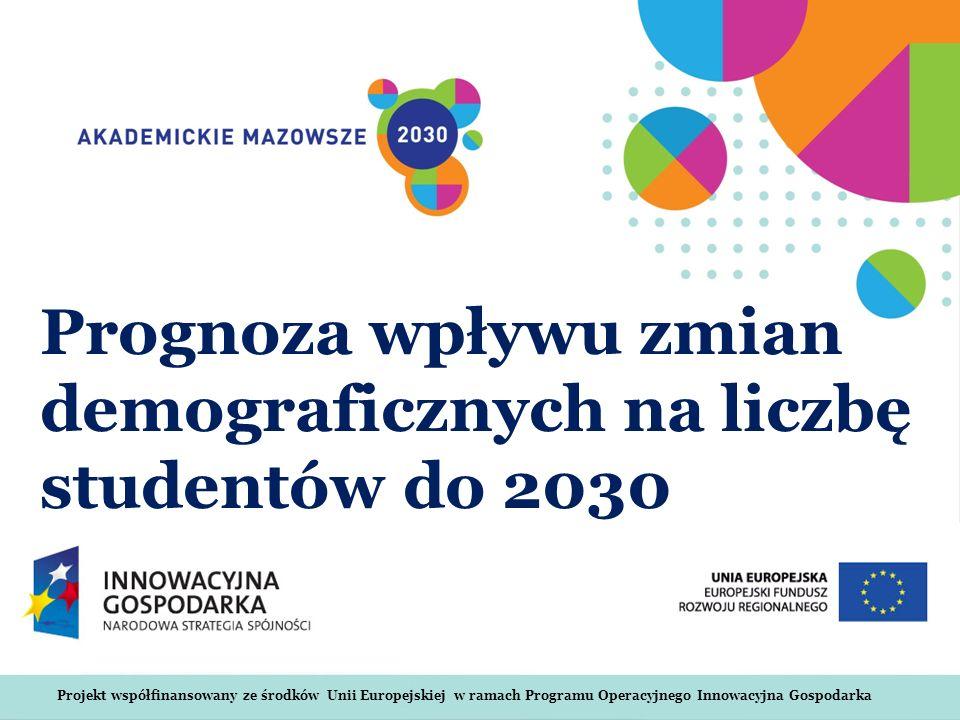 Projekt współfinansowany ze środków Unii Europejskiej w ramach Programu Operacyjnego Innowacyjna Gospodarka Prognoza wpływu zmian demograficznych na liczbę studentów do 2030