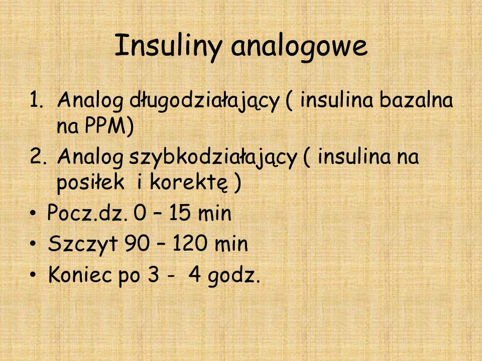 Insuliny analogowe 1.Analog długodziałający ( insulina bazalna na PPM) 2.Analog szybkodziałający ( insulina na posiłek i korektę ) Pocz.dz. 0 – 15 min