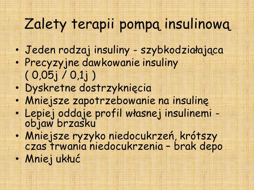Zalety terapii pompą insulinową Jeden rodzaj insuliny - szybkodziałająca Precyzyjne dawkowanie insuliny ( 0,05j / 0,1j ) Dyskretne dostrzyknięcia Mniejsze zapotrzebowanie na insulinę Lepiej oddaje profil własnej insulinemi - objaw brzasku Mniejsze ryzyko niedocukrzeń, krótszy czas trwania niedocukrzenia – brak depo Mniej ukłuć