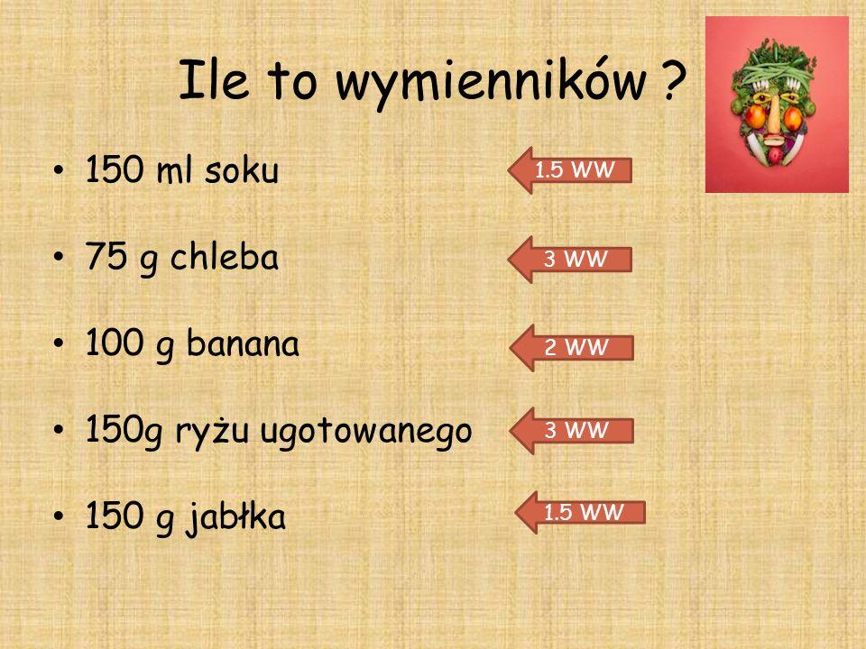 Ile to wymienników ? 150 ml soku 75 g chleba 100 g banana 150g ryżu ugotowanego 150 g jabłka 1.5 WW 3 WW 2 WW 3 WW 1.5 WW