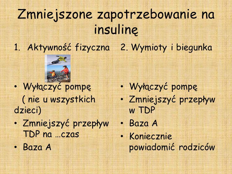 Zmniejszone zapotrzebowanie na insulinę 1.Aktywność fizyczna Wyłączyć pompę ( nie u wszystkich dzieci) Zmniejszyć przepływ TDP na …czas Baza A 2.