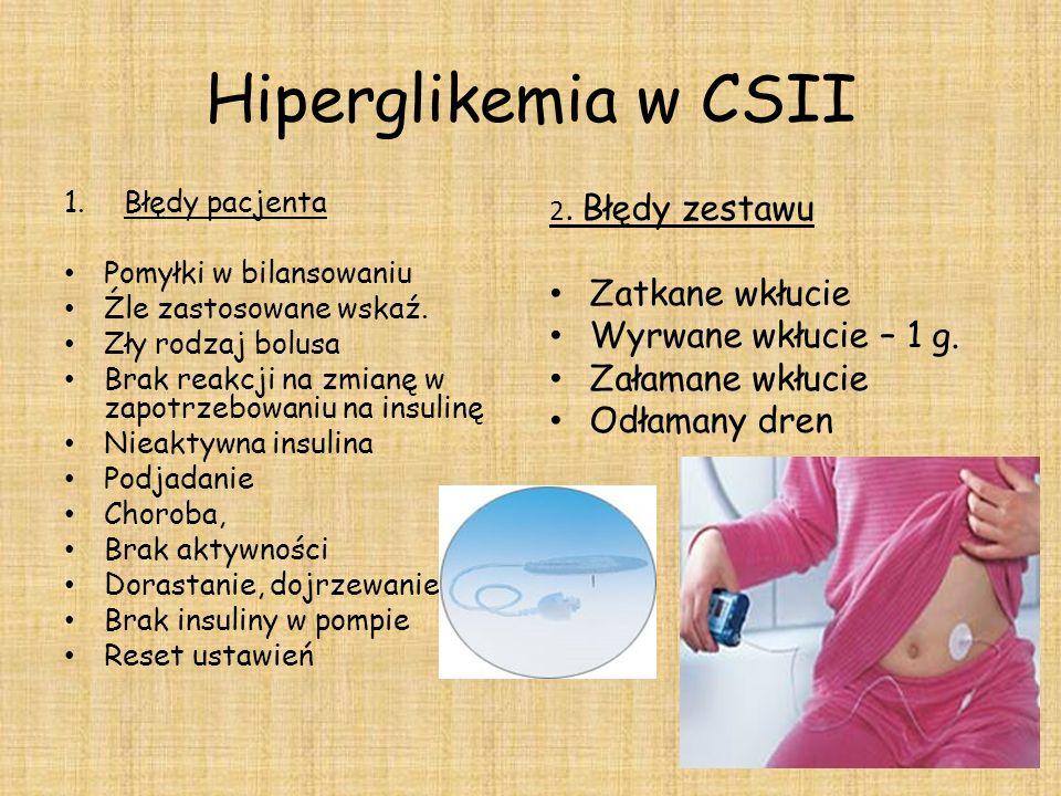 Hiperglikemia w CSII 1.Błędy pacjenta Pomyłki w bilansowaniu Źle zastosowane wskaź. Zły rodzaj bolusa Brak reakcji na zmianę w zapotrzebowaniu na insu