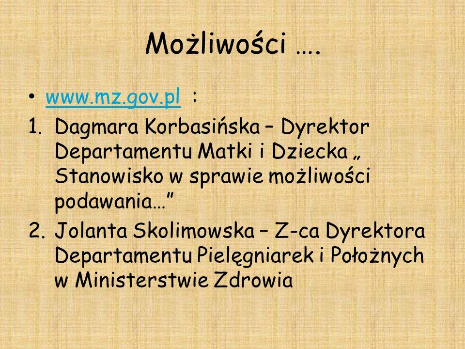 Możliwości …. www.mz.gov.pl : www.mz.gov.pl 1.Dagmara Korbasińska – Dyrektor Departamentu Matki i Dziecka Stanowisko w sprawie możliwości podawania… 2
