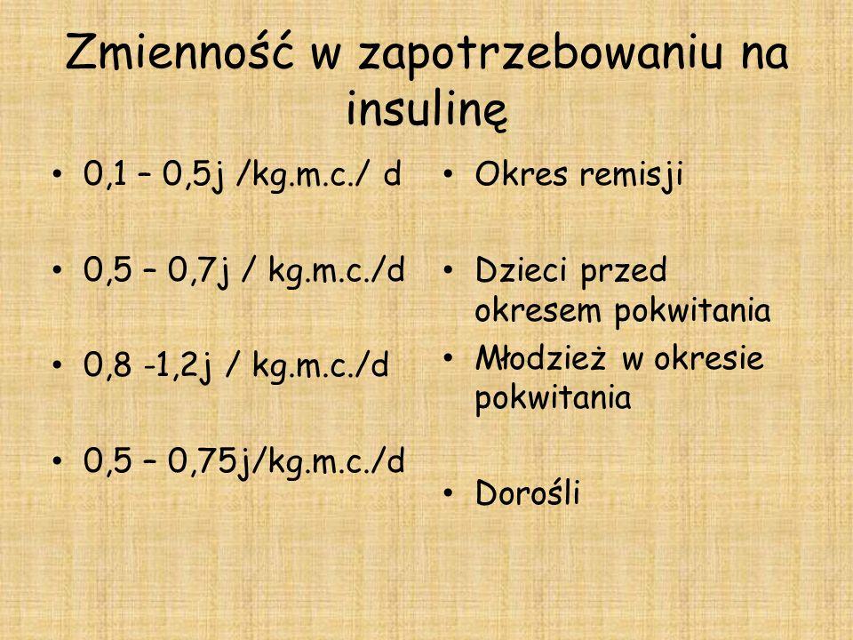 Zmienność w zapotrzebowaniu na insulinę 0,1 – 0,5j /kg.m.c./ d 0,5 – 0,7j / kg.m.c./d 0,8 -1,2j / kg.m.c./d 0,5 – 0,75j/kg.m.c./d Okres remisji Dzieci przed okresem pokwitania Młodzież w okresie pokwitania Dorośli
