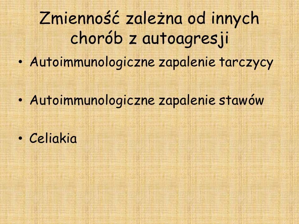 Zmienność zależna od innych chorób z autoagresji Autoimmunologiczne zapalenie tarczycy Autoimmunologiczne zapalenie stawów Celiakia